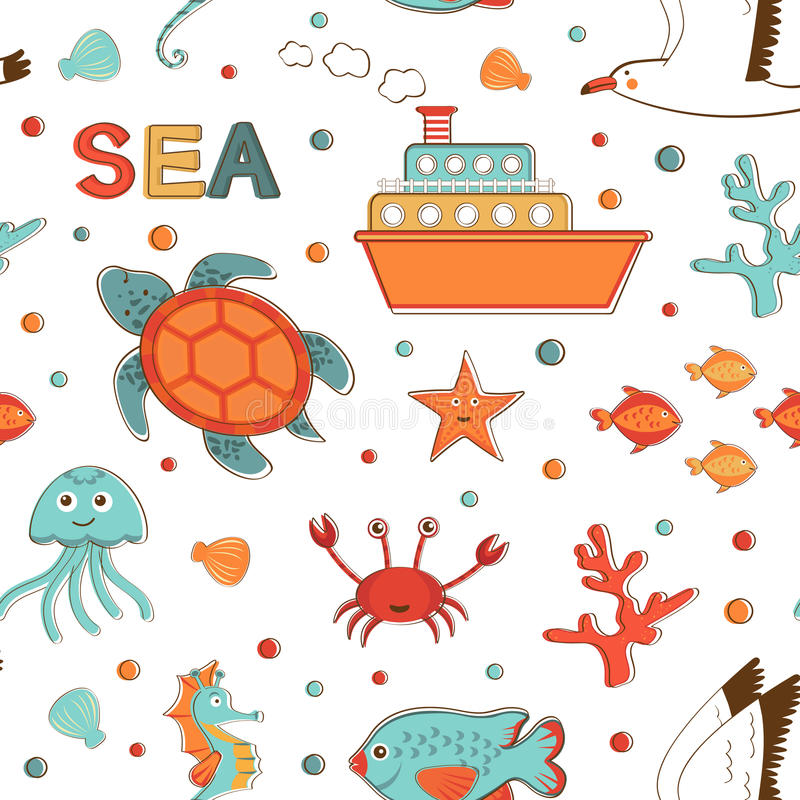 Modelo relacionado de los artículos de la vida marina hermosa libre illustration
