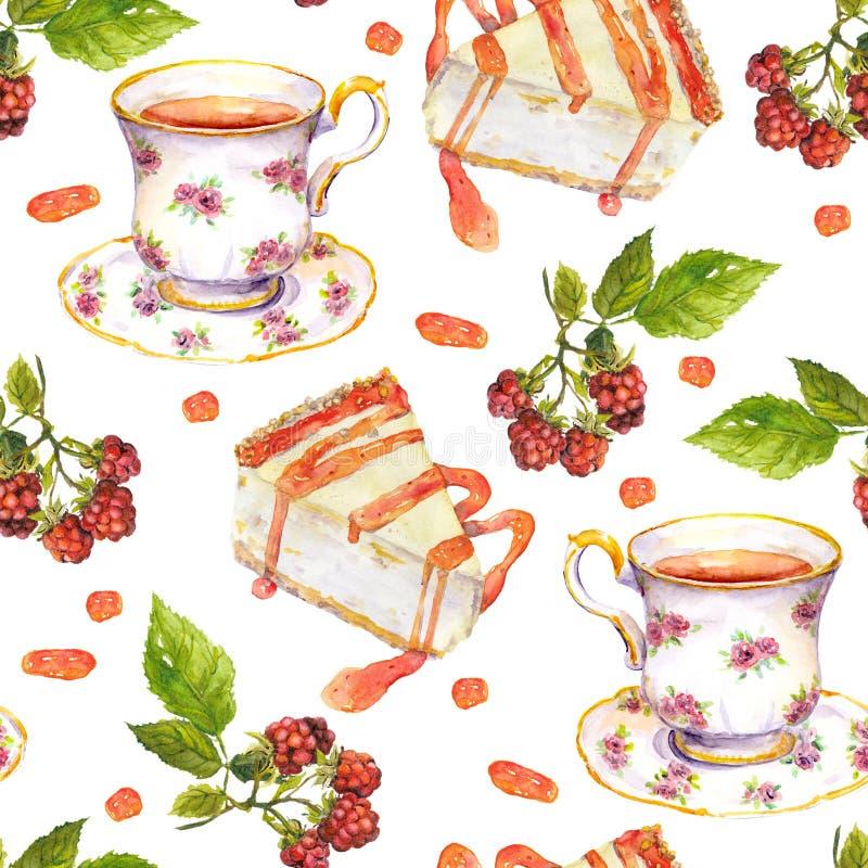 Modelo repetido inconsútil - la taza de té, bayas de la frambuesa, postre se apelmaza watercolor ilustración del vector