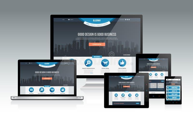 Modelo responsivo da Web ilustração stock