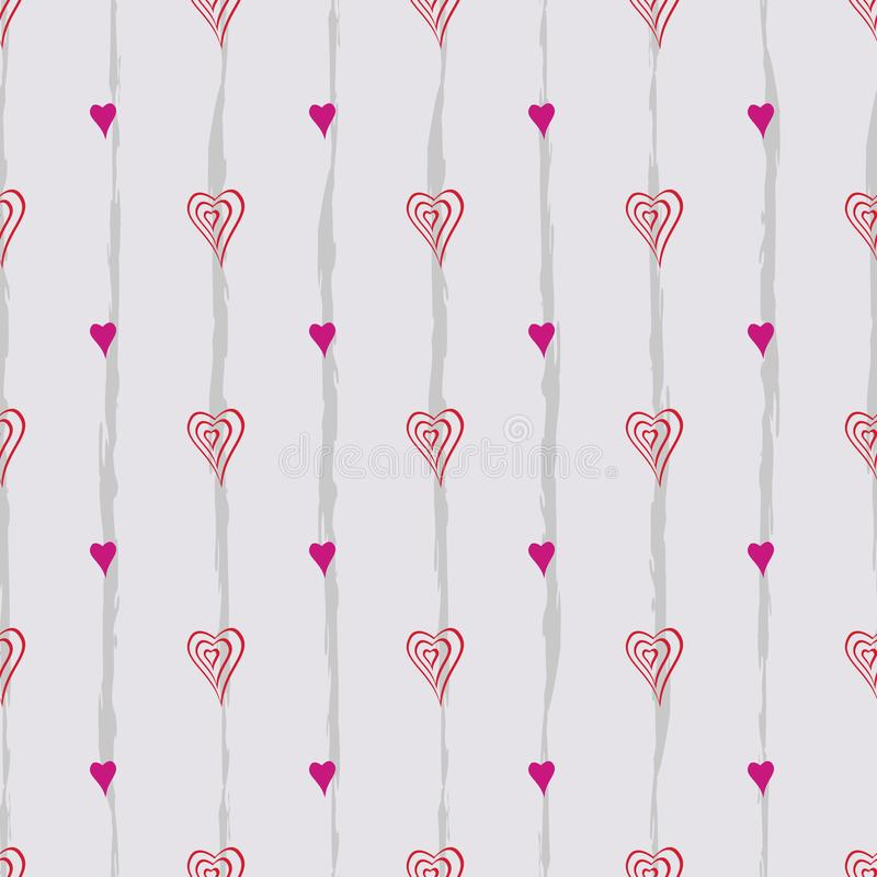 Modelo retro abstracto incons?til Curvas, corazones y líneas mezclados en la disposición geométrica stock de ilustración