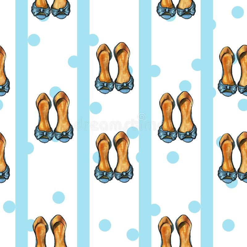 Modelo retro azul con los dits y zapatos azules stock de ilustración