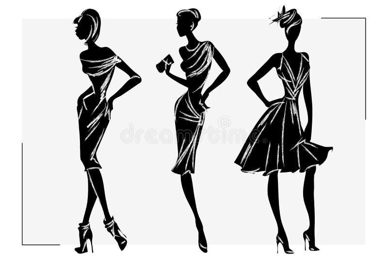Modelo retro blanco y negro de la mujer de la moda Mano drenada ilustración del vector