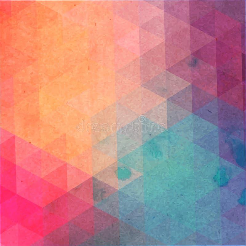 Modelo retro de formas geométricas Contexto colorido del mosaico El fondo retro del inconformista geométrico, pone su texto en el stock de ilustración