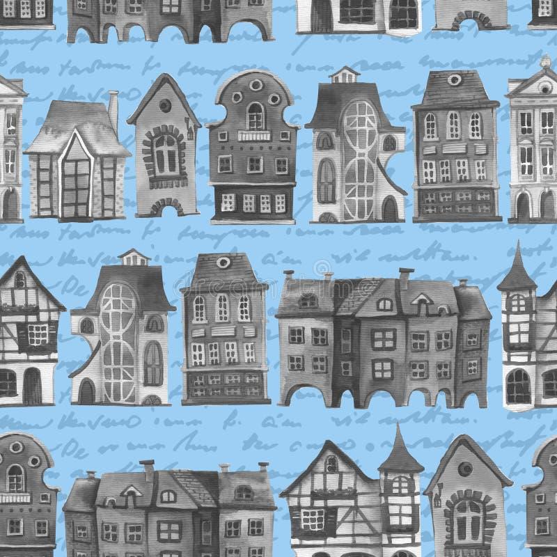 Modelo retro de la ciudad Fije de casas coloridas del estilo de Amsterdam del europeo de la acuarela imagen de archivo libre de regalías
