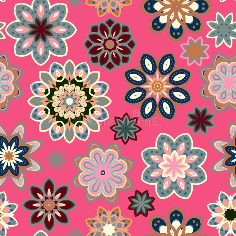 Modelo retro de la flor inconsútil en vector Flores del gris azul en fondo rosado stock de ilustración