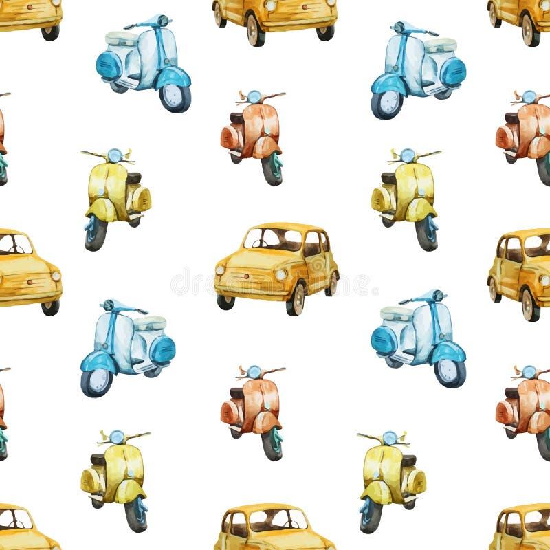 Modelo retro de la vespa y del coche de la acuarela stock de ilustración