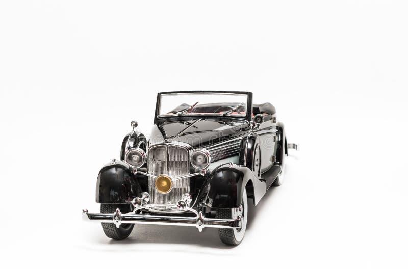 Modelo retro del coche del vintage clásico negro y gris foto de archivo