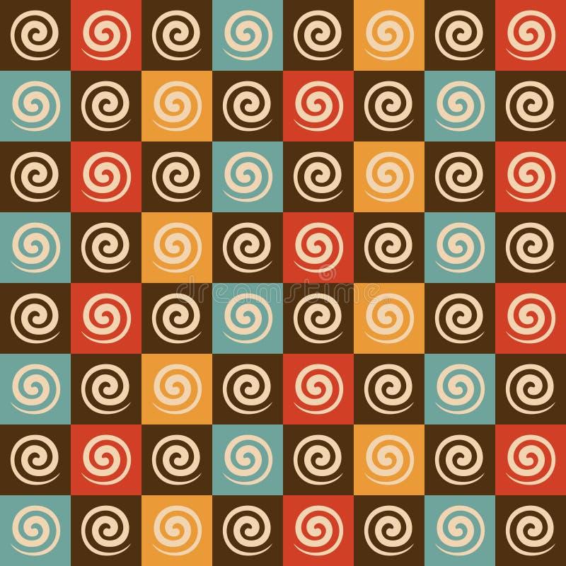 Modelo retro del espiral y del cuadrado stock de ilustración