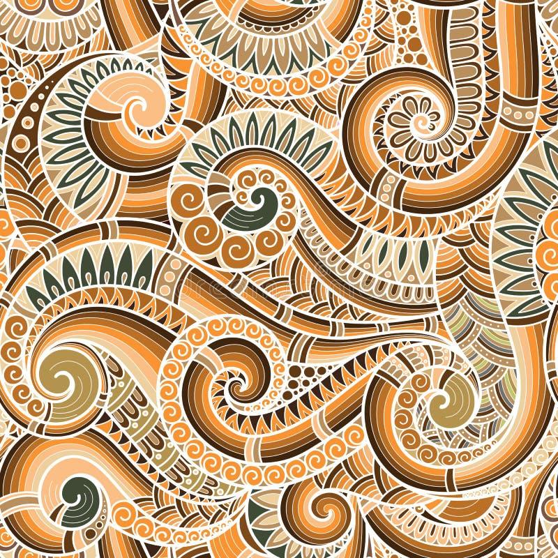 Modelo retro floral étnico asiático inconsútil del fondo del garabato adentro stock de ilustración