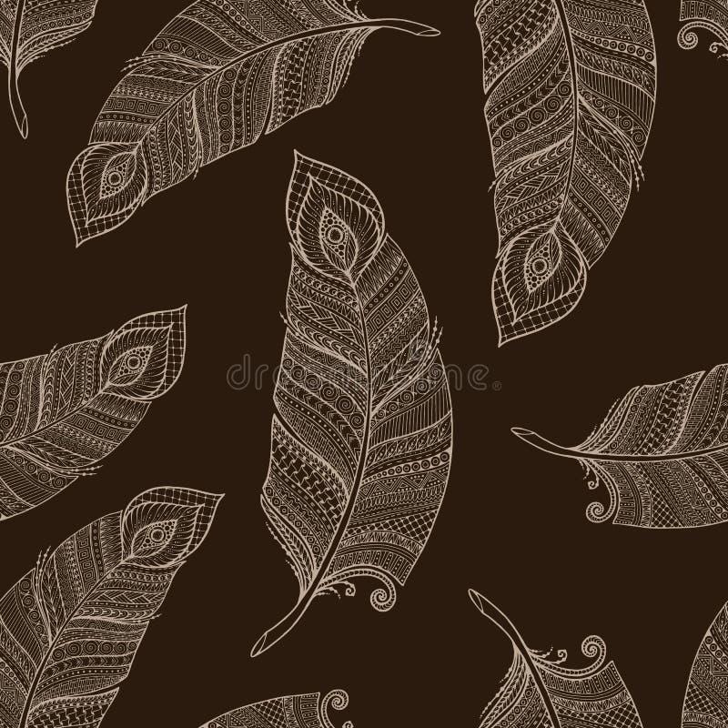 Modelo retro floral étnico asiático inconsútil del fondo del garabato en vector con las plumas libre illustration