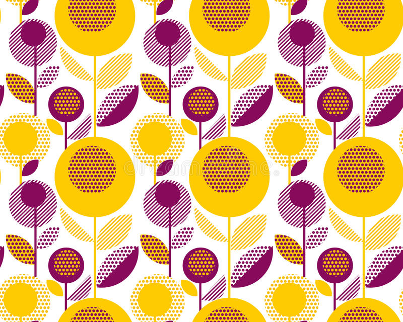modelo retro floral 60s estilo decorativo de la geometría ilustración del vector