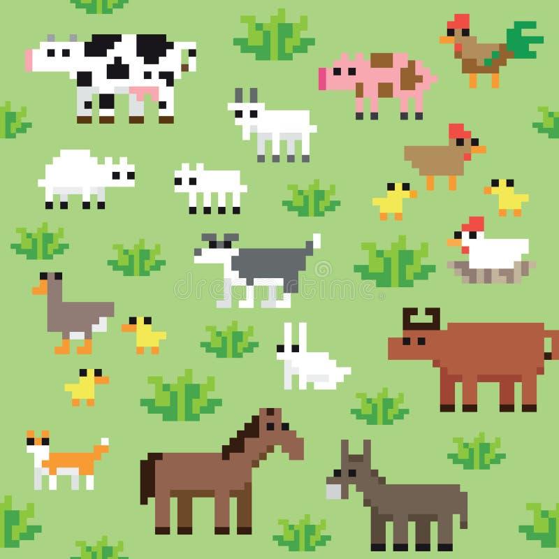 Modelo retro inconsútil de los animales del campo del pixel ilustración del vector