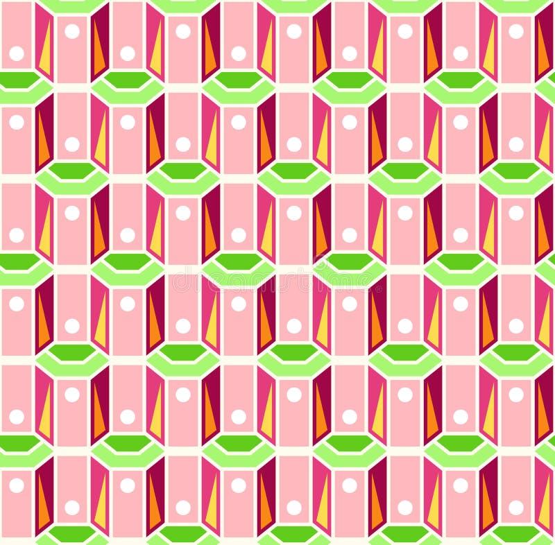 Modelo retro rosado y verde inconsútil stock de ilustración