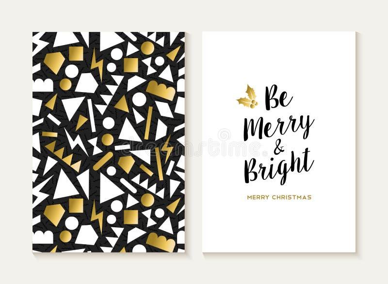 Modelo retro 80s del oro de la tarjeta de la Feliz Navidad ilustración del vector
