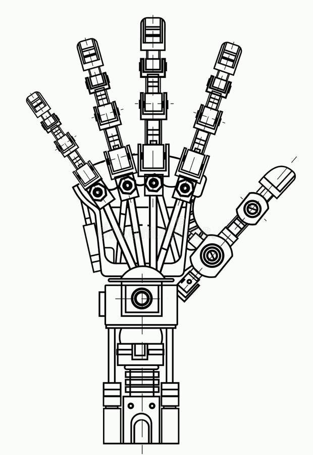 Modelo robótico do desenho do braço Pode ser usado como uma ilustração de ideias da robótica, inteligência artificial, biônico