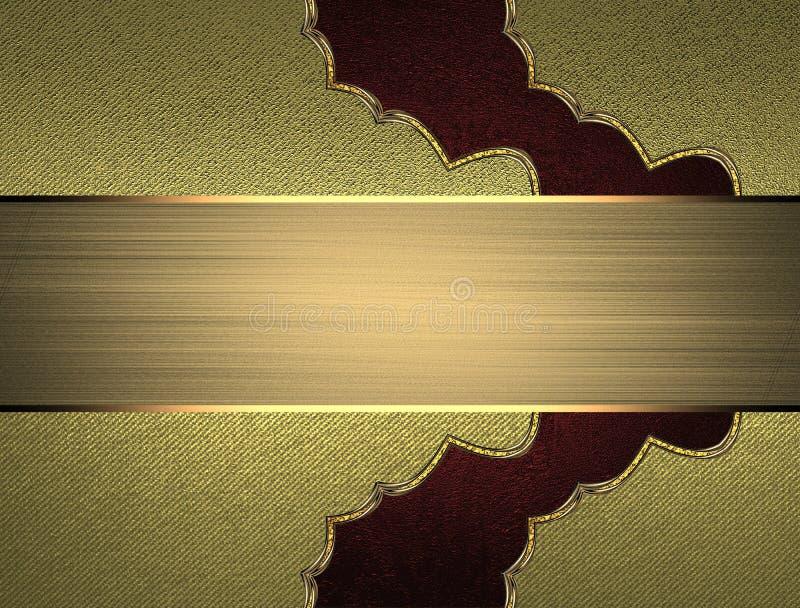 Modelo rojo con el letrero para el texto en textura del oro Plantilla para el diseño copie el espacio para el folleto del anuncio stock de ilustración