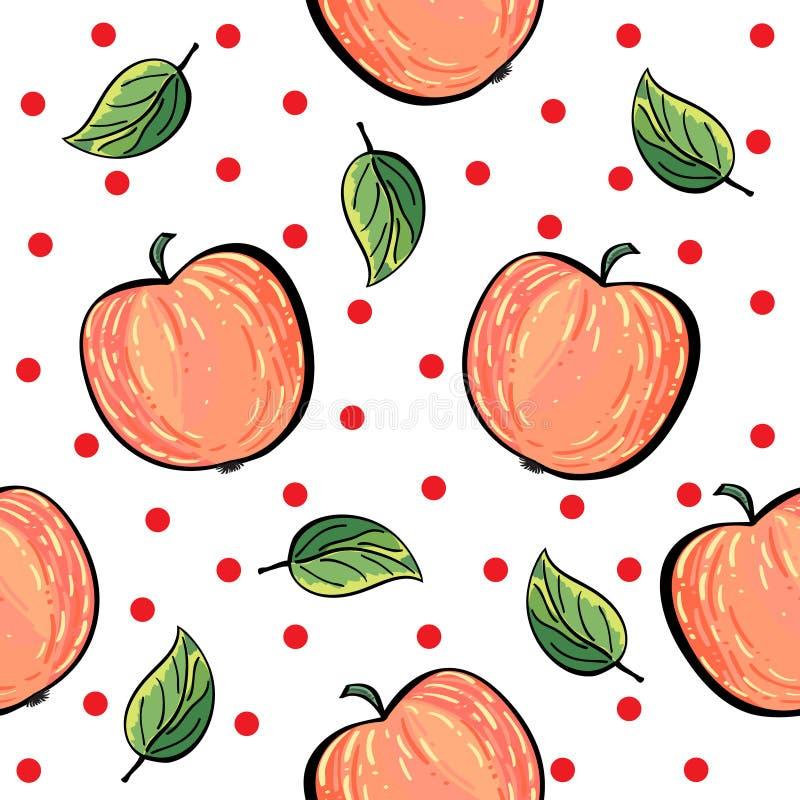 Modelo Rojo De La Manzana Con Los Puntos Rojos Ilustración del ...