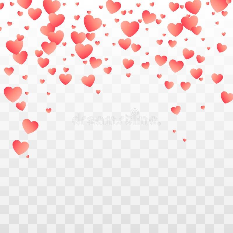 Modelo rojo de los corazones que cae Elemento romántico de la decoración para su diseño del día de fiesta Vector ilustración del vector