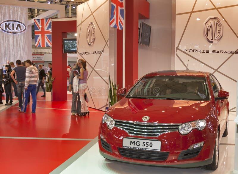 Modelo rojo del coche de MG 550 en la exhibición foto de archivo