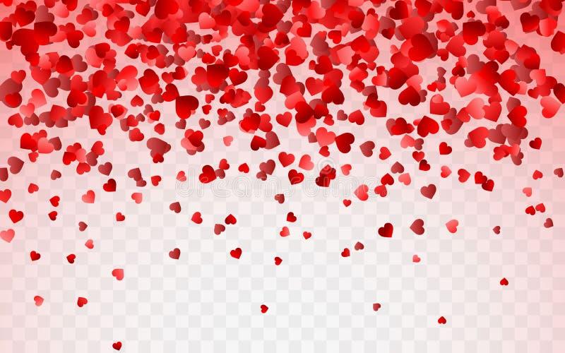 Modelo rojo del confeti al azar de los corazones que cae Elemento del diseño de la frontera para la bandera festiva, tarjeta de f ilustración del vector