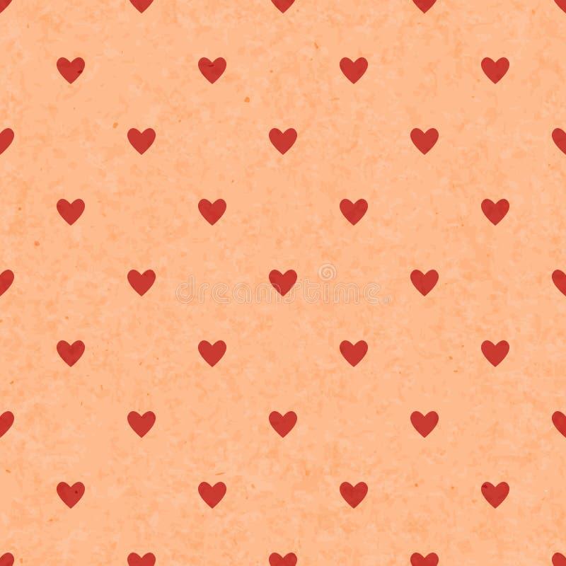 Modelo rojo del lunar inconsútil con los corazones Vector stock de ilustración