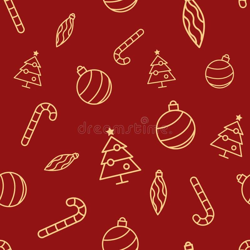 Modelo rojo inconsútil de la Navidad con los iconos amarillos simples Adorne la bola, el carámbano del ornamento, el árbol de Nav stock de ilustración