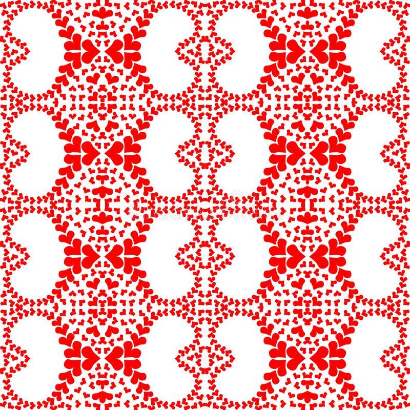 Modelo rojo inconsútil de los corazones del cordón ilustración del vector