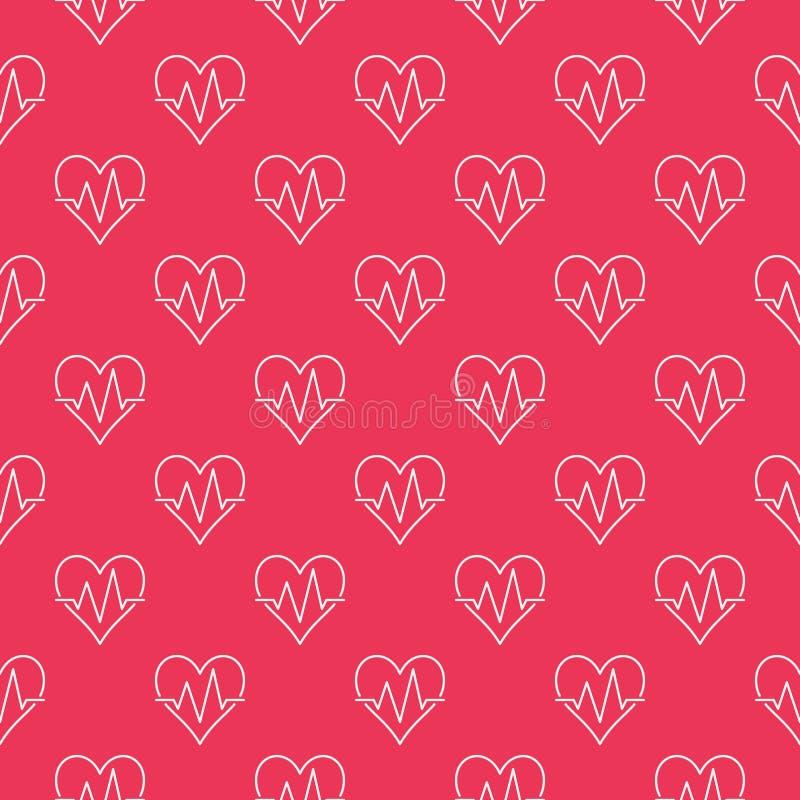 Modelo rojo inconsútil del latido del corazón Fondo del vector ilustración del vector