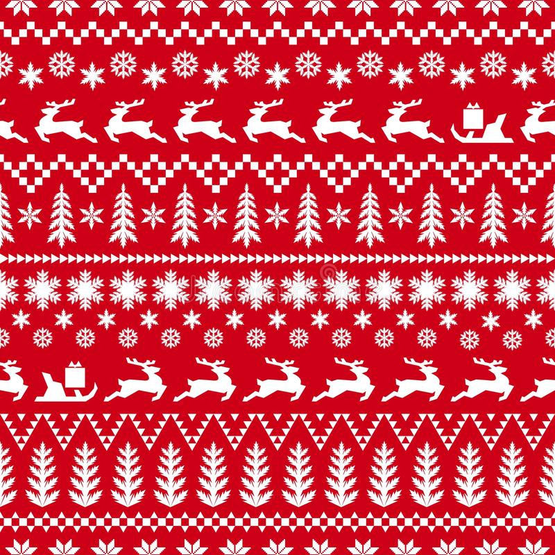 Modelo rojo y blanco del invierno con los ciervos libre illustration