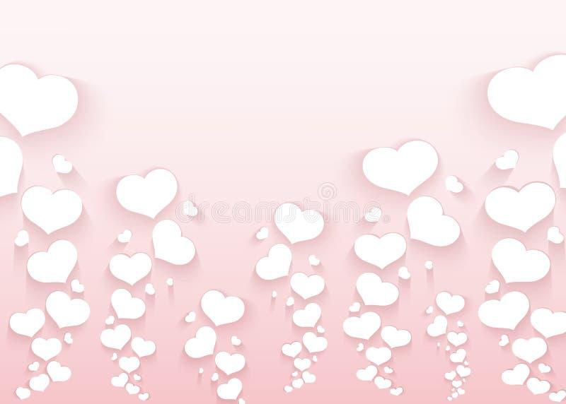 Modelo romántico con los corazones del vuelo en una plantilla vacía del fondo del rosa para la boda de los anuncios del día de ta libre illustration