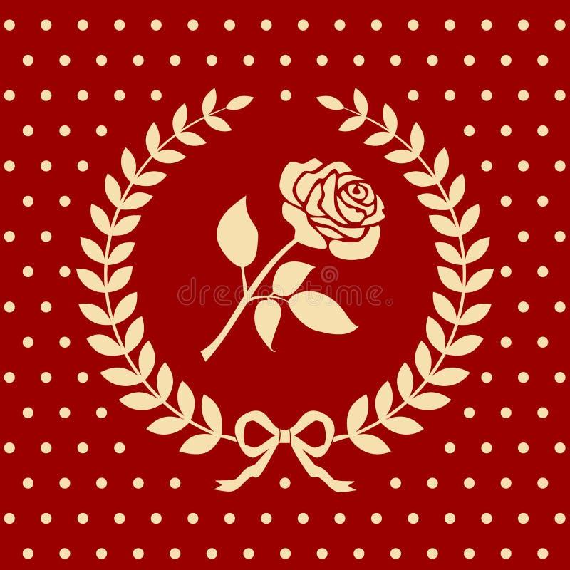 Modelo romántico de las rosas en una guirnalda del laurel ilustración del vector