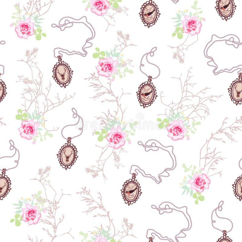 Modelo romántico del vector con las rosas, los medallones de cadena y el árbol b ilustración del vector