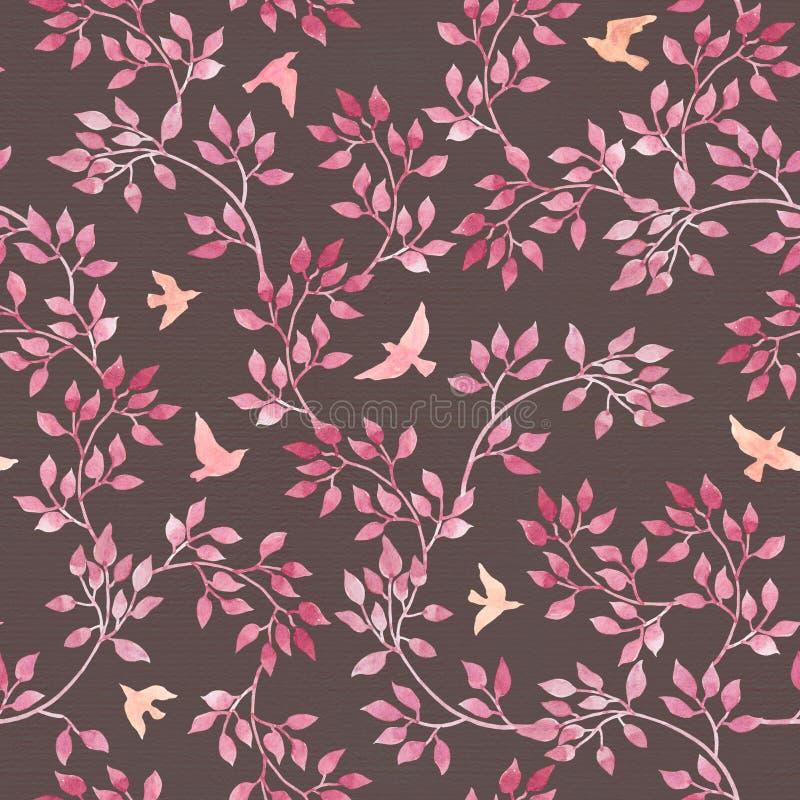 Modelo romántico del vintage inconsútil con las hojas retras pintadas a mano, pájaros rosados Arte de la acuarela en fondo oscuro foto de archivo