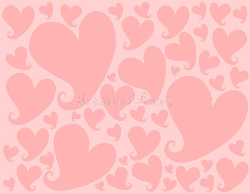 Modelo rosa claro del fondo de los corazones de la tarjeta del día de San Valentín ilustración del vector