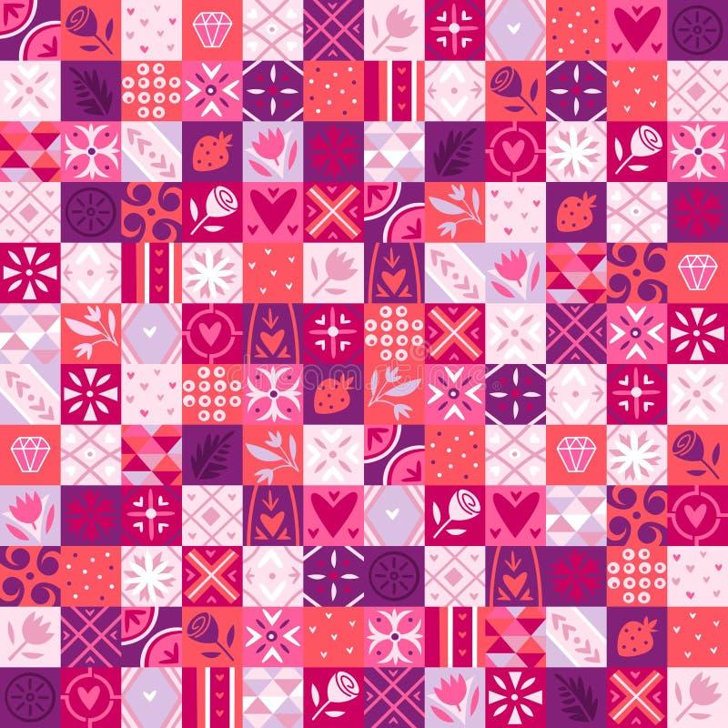 Modelo rosado de la tarjeta del día de San Valentín ilustración del vector
