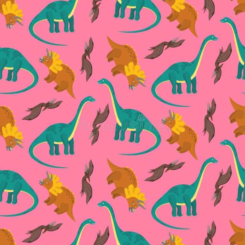 Modelo rosado de los dinosaurios para la materia textil de los niños stock de ilustración