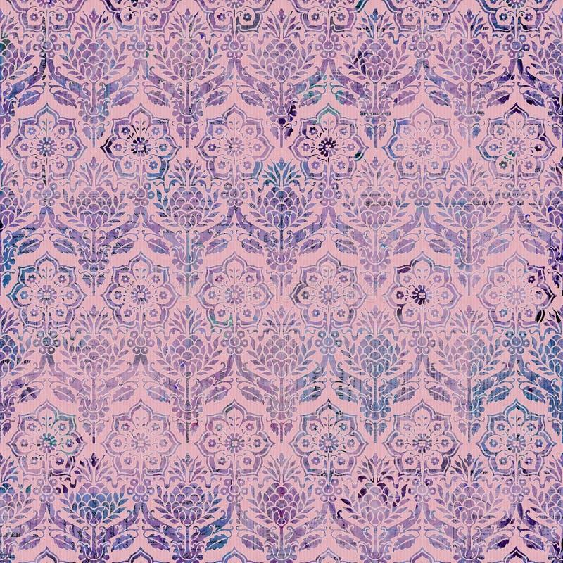 Modelo rosado púrpura del fondo del damasco de la vendimia stock de ilustración