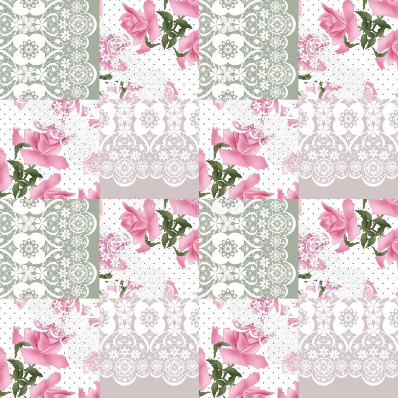 Modelo rosado retro de las rosas del cordón blanco inconsútil del remiendo imagen de archivo