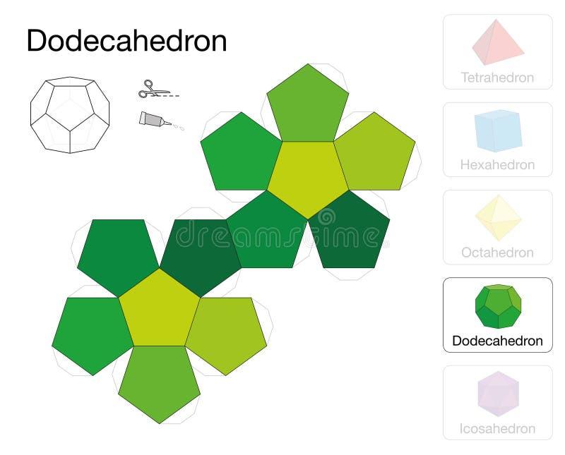 Modelo Sólido Platónico Del Papel De La Plantilla De Dodecahedron ...