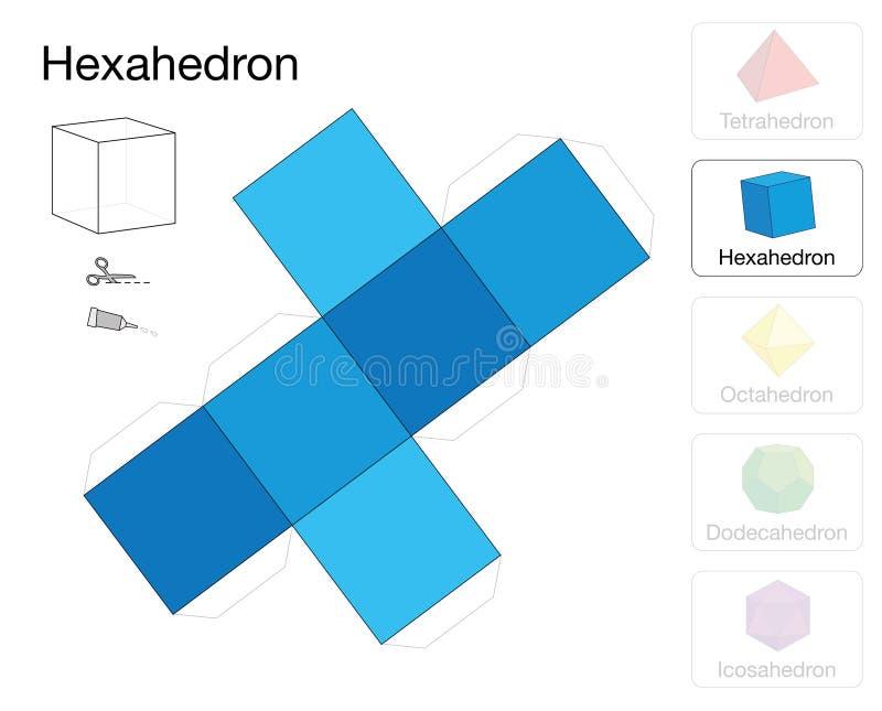 Modelo Sólido Platónico Del Papel De La Plantilla De Hexahedron ...