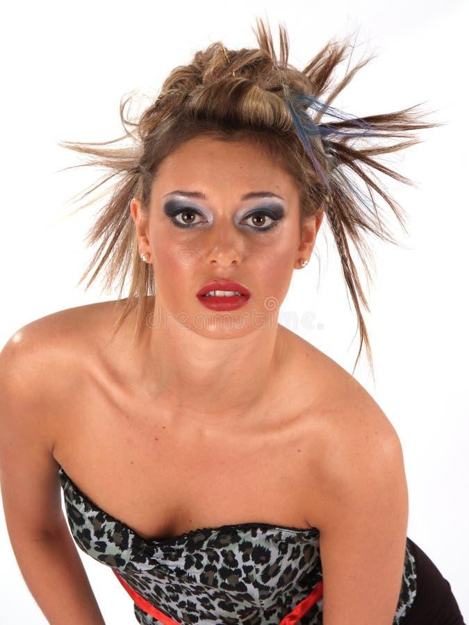 Modelo selvagem do cabelo fotos de stock