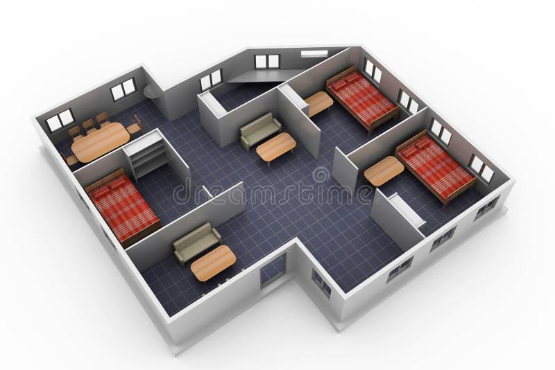 Modelo sem telhado da arquitetura ilustração royalty free