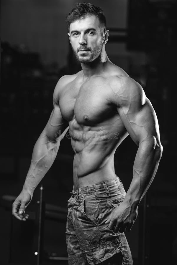 Modelo 'sexy' caucasiano da aptidão no fim do gym acima do Abs foto de stock royalty free