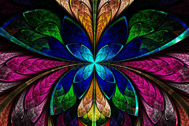 Modelo simétrico multicolor del fractal como la flor o mariposa libre illustration