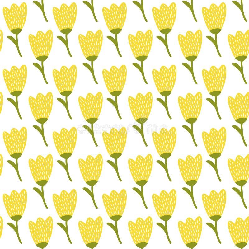 Modelo simple del tulipán del amarillo del garabato Fondo inconsútil de la flor linda Papel pintado del verano ilustración del vector