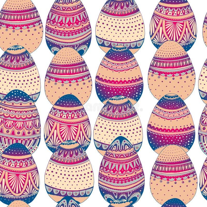 Modelo simple inconsútil del vector con el huevo de Pascua en el fondo blanco Fondo del día de fiesta de Pascua de los huevos del libre illustration