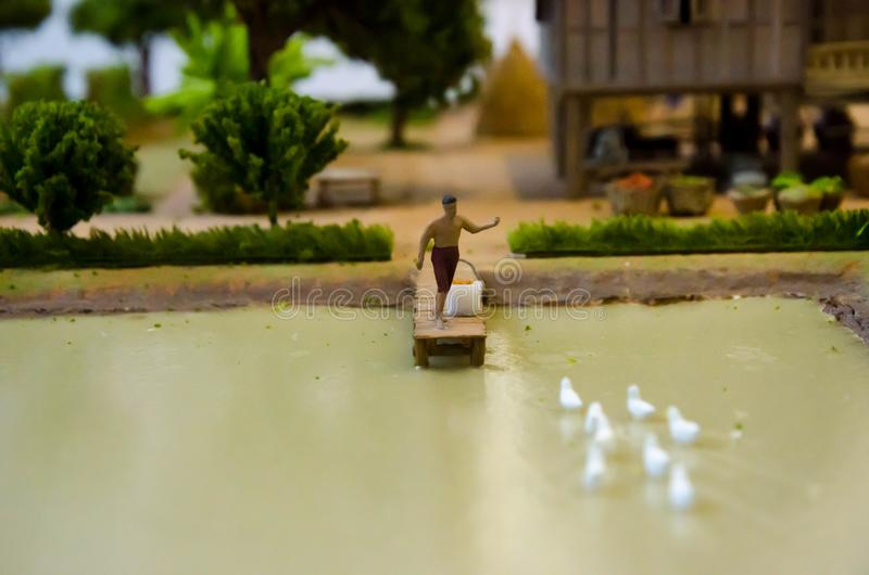 Modelo simulado del campo tradicional tailandés viejo imagenes de archivo