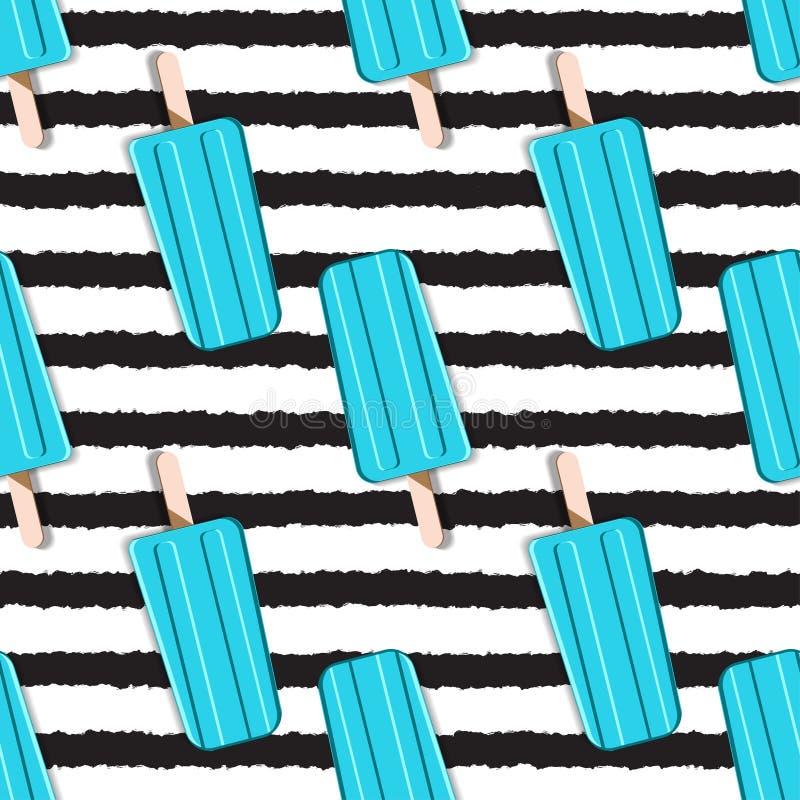 Modelo sin fin colorido del helado en un fondo rayado adentro stock de ilustración