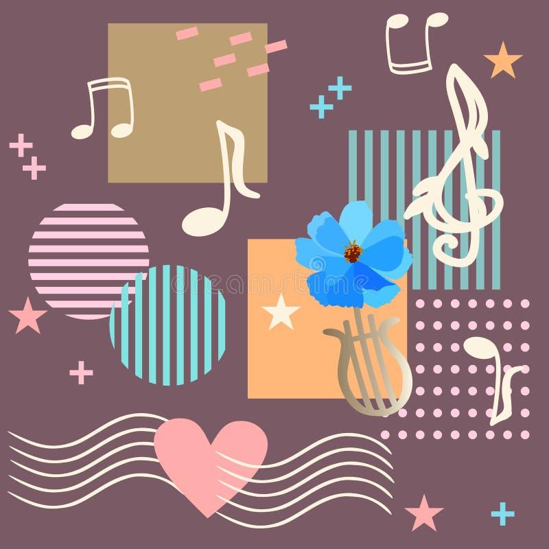 Modelo sin fin con el estilo de Memphis de las notas y de las muestras de la música adentro Reglas musicales que pasan a través d libre illustration