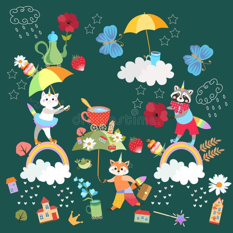 Modelo sin fin de hadas o tarjeta cuadrada para el bebé Gatito lindo de la historieta, mapache y pequeño zorro - unicornios ilustración del vector